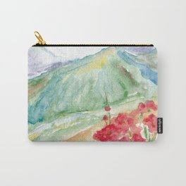Mountain flowers. Abstract watercolor landscape Carry-All Pouch