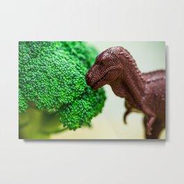 T-Rex & Broccoli Metal Print