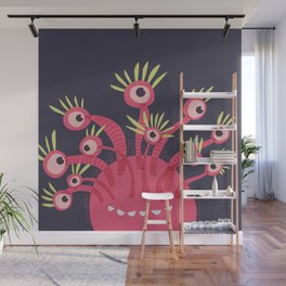 Funny Pink Monster With Eleven Eyes Is Happy Wall Mural