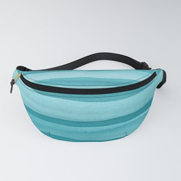 Teal Watercolor Lines Pattern Fanny Pack