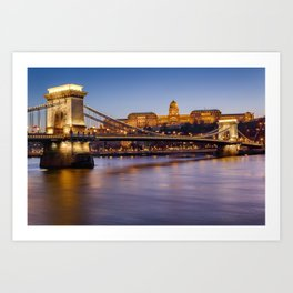Budapest castle and bridge at blue hour. Art Print
