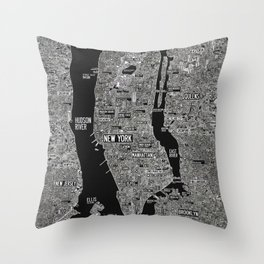 Cool New York city map with street signs Throw Pillow
