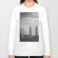 buildings Long Sleeve T-shirts featuring NYC Buildings by Maria Goldaracena
