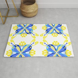 Blue and yellow tiles Rug