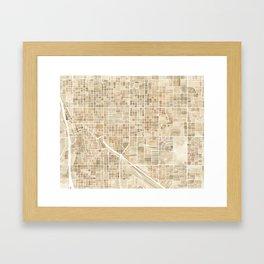 Tucson Arizona watercolor city map Framed Art Print