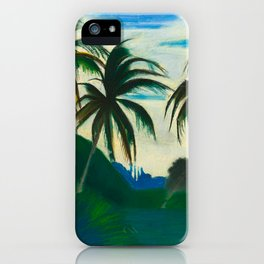 Tropical Scene with Palms and Flowers by Joseph Stella iPhone Case