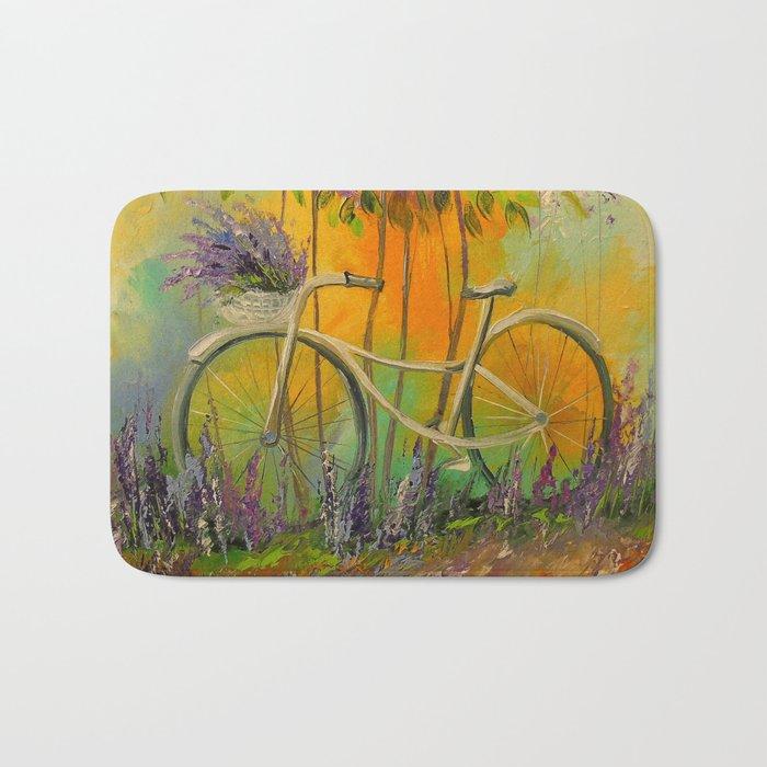 White Bicycle Bath Mat