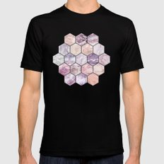 Rose Quartz and Amethyst Stone and Marble Hexagon Tiles Black Mens Fitted Tee MEDIUM