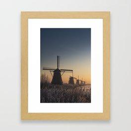 Sunrise at Kinderdijk Framed Art Print