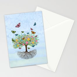 Tree of life with butterflies and flowers Stationery Cards