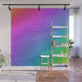 Rainbow Ombre Crackle Design Wall Mural