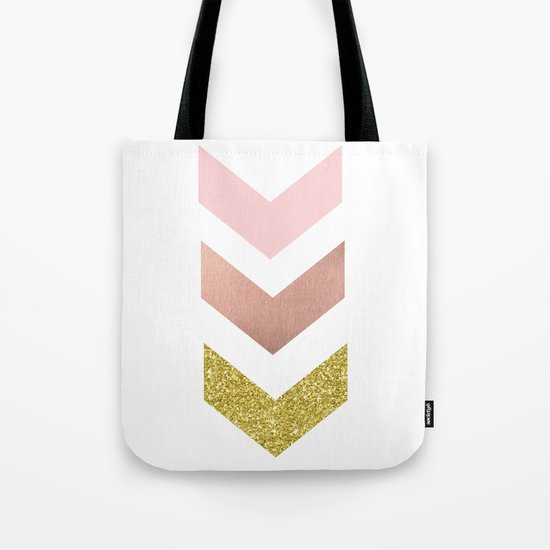 Rose gold chevron Tote Bag