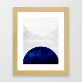 white & cobalt Framed Art Print