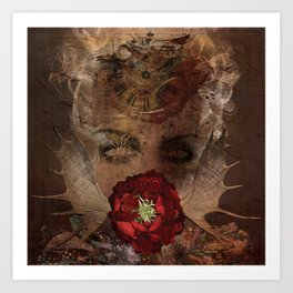 Lady with the red rose Art Print