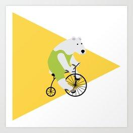 Cycling Polar Bear Triangle Art Print