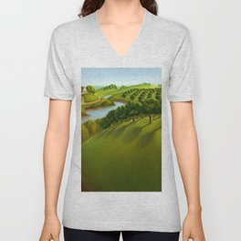 Classical Masterpiece 'The Plains' by Grant Wood Unisex V-Neck
