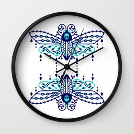 Death's Head Hawkmoth – Navy & Turquoise Palette Wall Clock