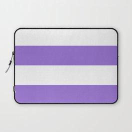 Wide Horizontal Stripes - White and Dark Pastel Purple Laptop Sleeve