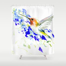Hummingbird and Blue Flowers Shower Curtain