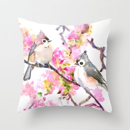 Titmice and Cherry Blossom, spring bird cottage style pink gray design Throw Pillow
