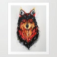 Fire Wolf Art Print