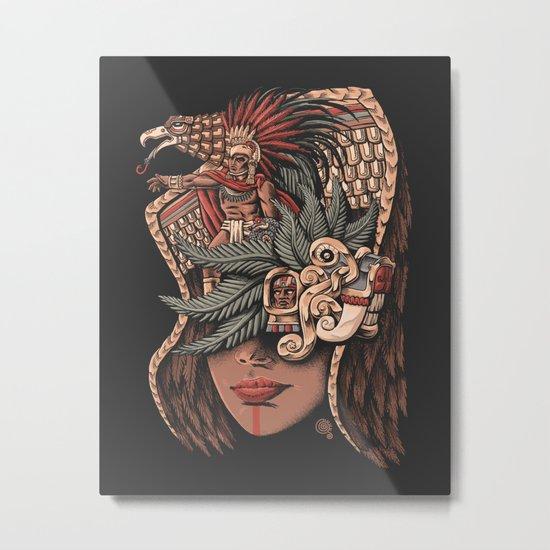 Aztec Eagle Warrior Metal Print