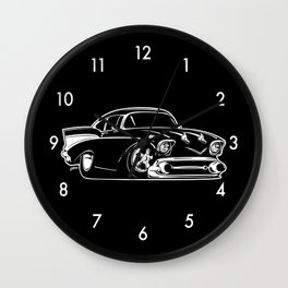 Classic American Hot Rod Cartoon Wall Clock