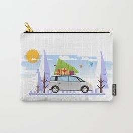 Chrismtas Design, Car with Christmas Tree On Top Carry-All Pouch