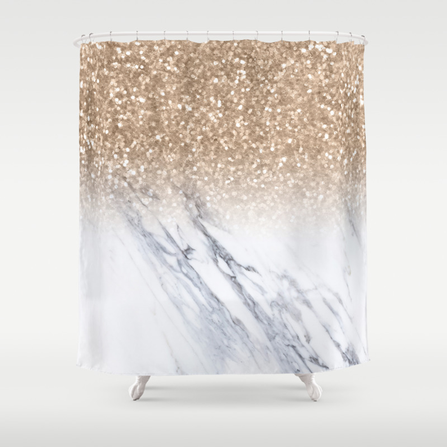 Bronze Copper Gold Sparkles White Gray Marble Luxury Shower Curtain