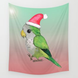 Green Christmas parrot Wall Tapestry