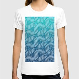 Japanese style wood carving pattern in blue T-shirt