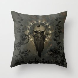 Creepy skull Throw Pillow