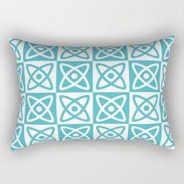 Mid Century Modern Atomic Check 140 Turquoise Rectangular Pillow