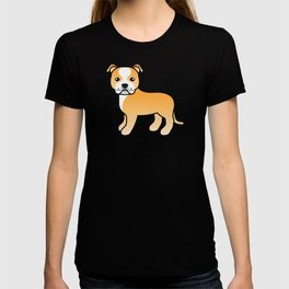 Fawn And White English Staffordshire Bull Terrier Cartoon Dog T-shirt