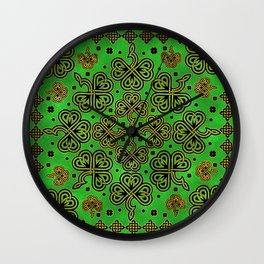 Shamrock Clover Celtic Ornament Wall Clock