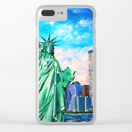 NYC, WTC, Twin Towers, Statue of Liberty Clear iPhone Case
