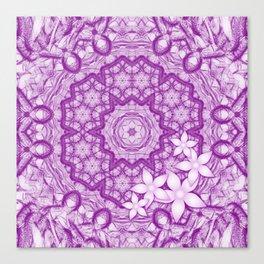 flowers on purple mandala Canvas Print