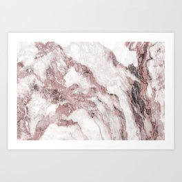 White and Pink Marble Mountain 02 Art Print
