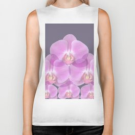 PINK ORCHIDS & GREY FLORAL ABSTRACT ART Biker Tank