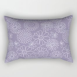 Violet doodle floral pattern Rectangular Pillow