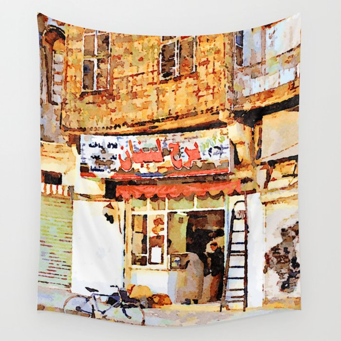 Aleppo: bicycle in front of the shop Wall Tapestry
