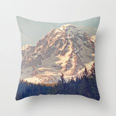 Mount Rainier Retro Throw Pillow