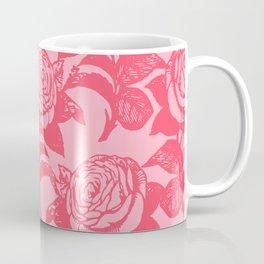 Large Floral Pink Roses Coffee Mug
