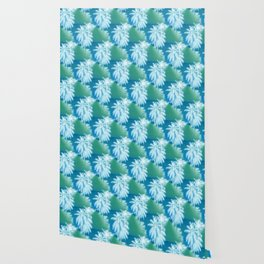 Palm Trees Blue Green Tropical Print Wallpaper