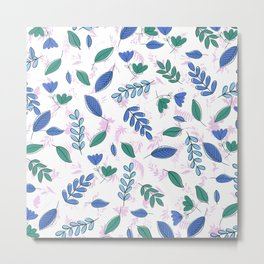 Abstract Green Blue Pink Floral Foliage Pattern Metal Print