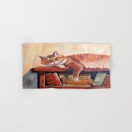 Red cat on a bookshelf Hand & Bath Towel
