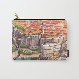 Dubrovnik Croatia ink & watercolor illustration Carry-All Pouch