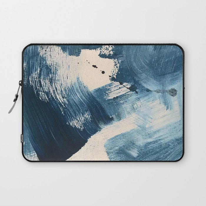 Against the Current: A bold, minimal abstract acrylic piece in blue, white and gold Laptop Sleeve