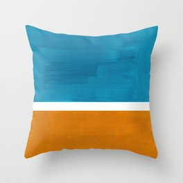 Rothko Minimalist Mid Century Modern Vintage Colorful Pop Art Colorfields Dark Teal Yellow Ochre Throw Pillow