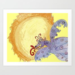 Dragon Sun Sky Art Print